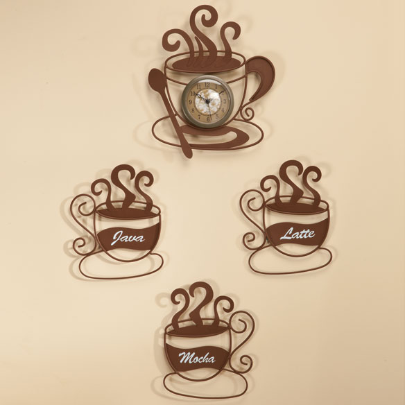 Metal Coffee Cup D Cor Value Set Metal Wall Art Miles