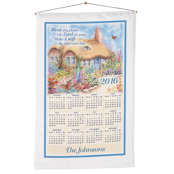 """Bless This House Oh Lord"" Personalized Calendar Towel"