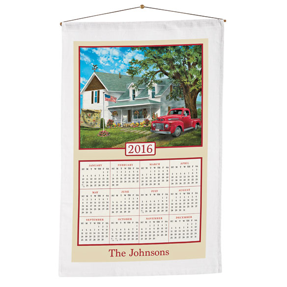 Americana Farmhouse Personalized Calendar Towel