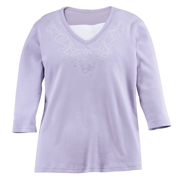 Embellished Swirls 3/4-Sleeve Top with Insert