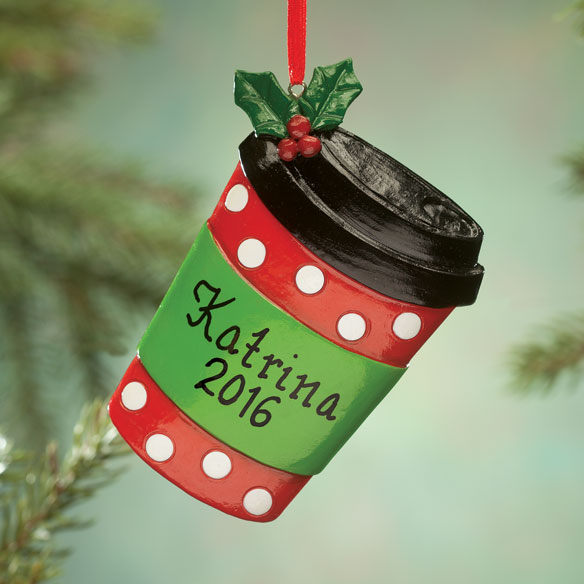 Personalized Coffee Cup Ornament - View 1