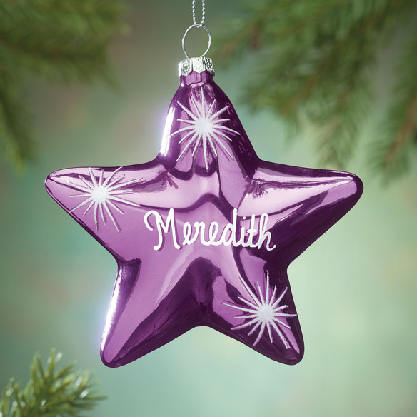 Personalized Birthstone Star Ornament - Personalized Angel Ornament - Brass Christmas Ornament - Miles Kimball