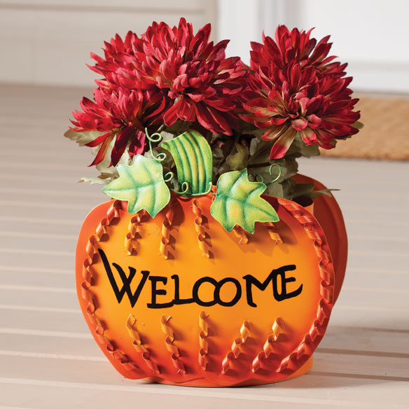 Welcome Pumpkin Planter by Maple Lane Creations™