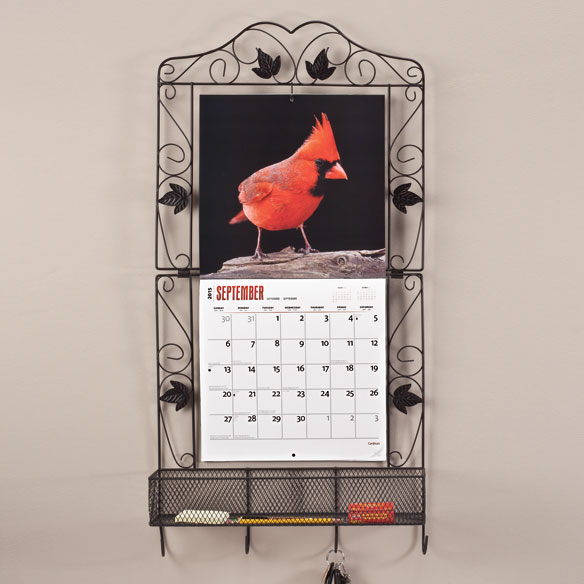 Scroll Leaf Calendar Holder with Basket and Hooks