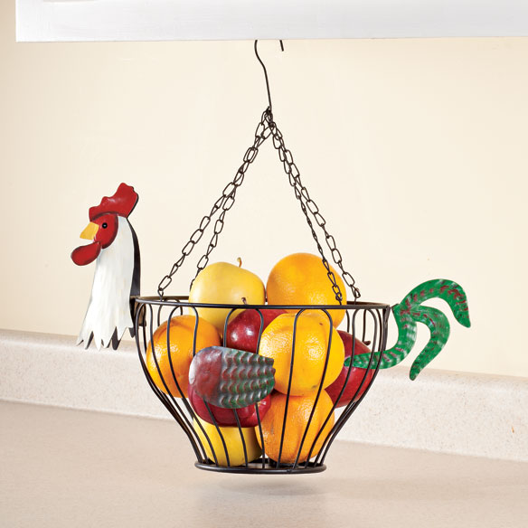 Hanging Rooster Fruit Basket - View 1