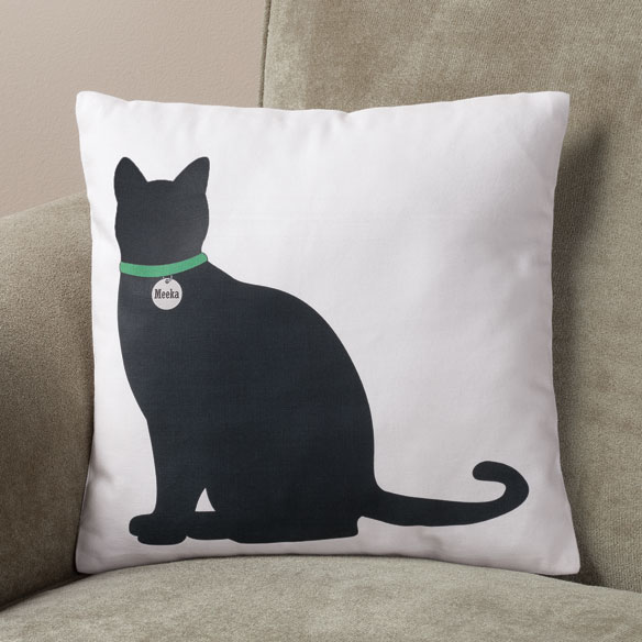 Personalized Sitting Cat Silhouette Pillow
