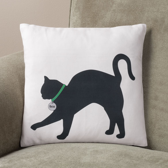 Personalized Stretching Cat Silhouette Pillow