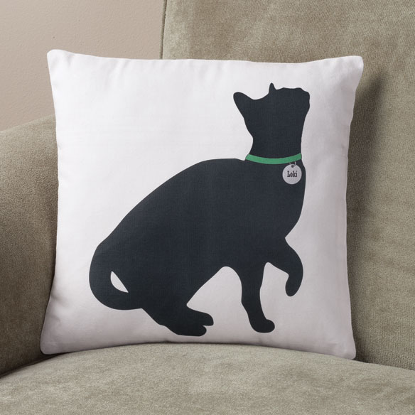 Begging Cat Silhouette Pillow - View 1