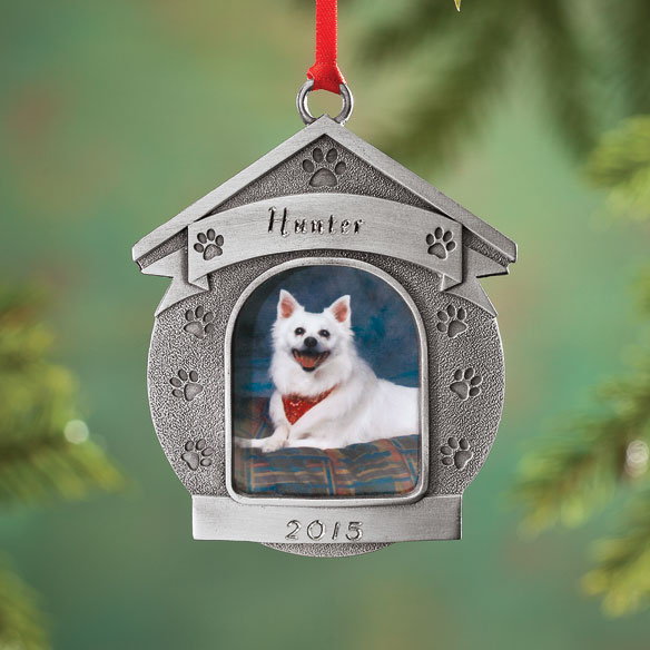 Pewter Personalized Dog House Ornament
