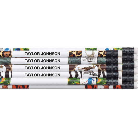 Personalized Zoo Animals Pencils, Set of 12