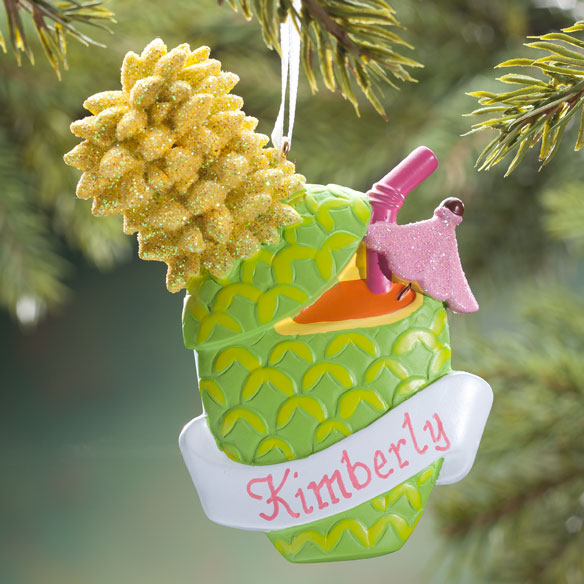 Personalized Pineapple Drink Ornament