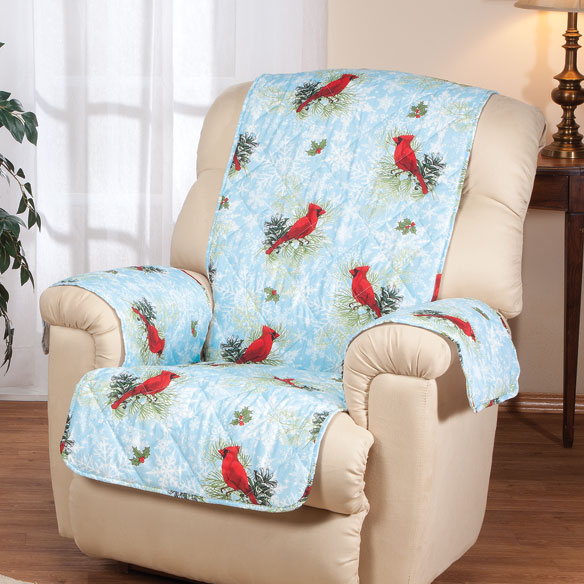 Microfiber Winter Cardinal Recliner Cover - View 1