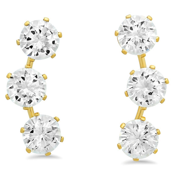 CZ Ear Climber Earrings