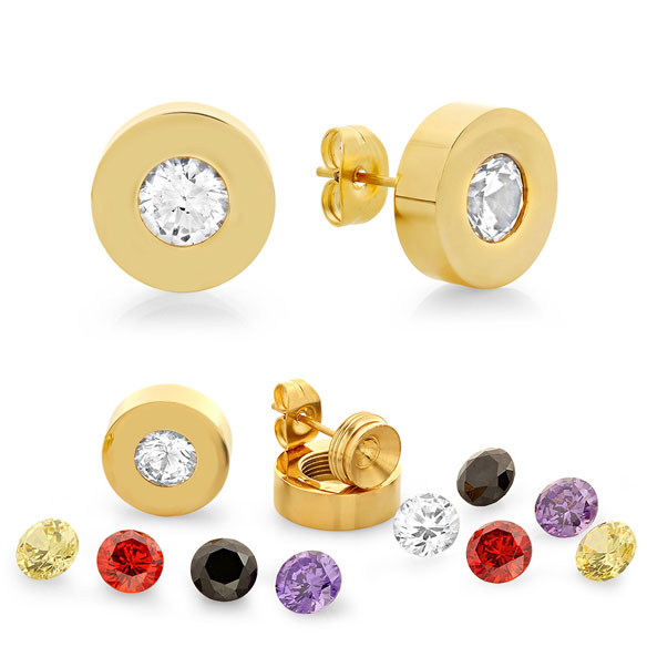 Interchangeable CZ Stud Earrings - View 1
