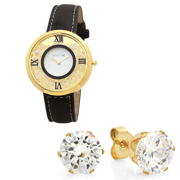 Women's Floating Crystal Watch and Earring Set