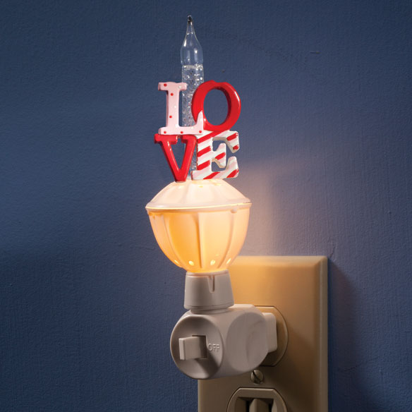 Silver Bubble Nightlight with St. Pat's & Valentine's Clips - View 1