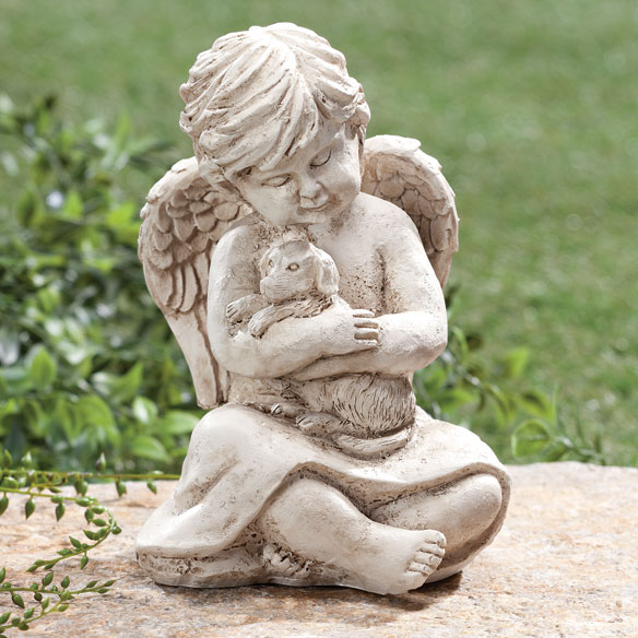 Exceptional Memorial Angel Dog Statue Pet Grave Marker Garden Puppy Friend ...