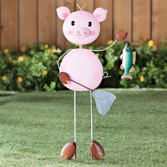 Metal Fishing Pig Lawn Stake by Maple Lane Creations™