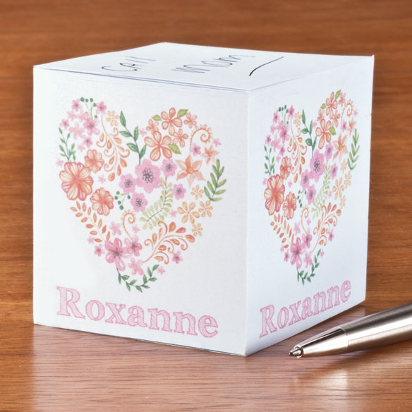 Personalized Floral Heart Self-Stick Note Cube