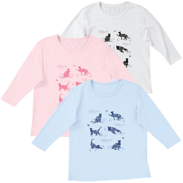 Floral Cat 3/4-Sleeve Crew Neck Shirt