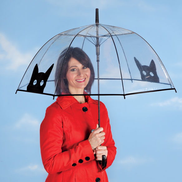 Clear View Umbrella with Cat Silhouettes