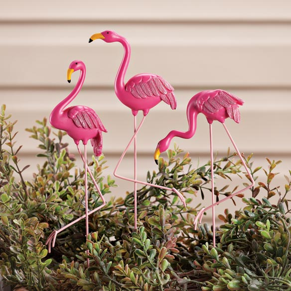 Resin Flamingo Planter Stakes by Maple Lane Creations™, Set of 3
