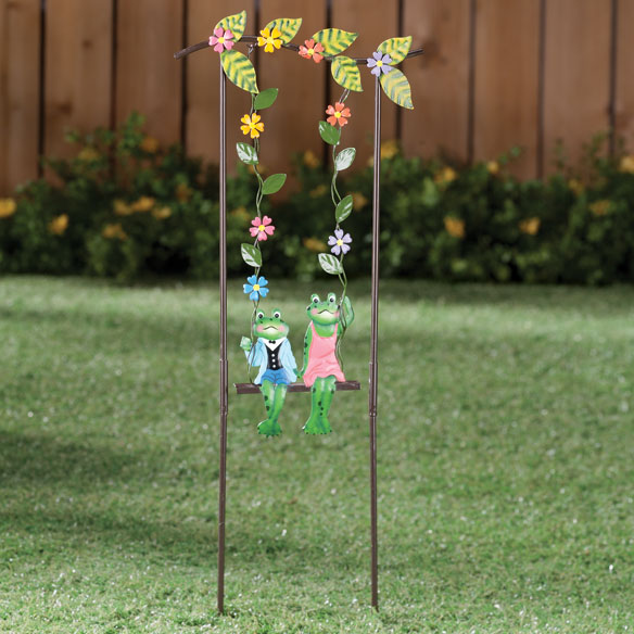 Swinging Frog Couple Lawn Stake by Maple Lane Creations™