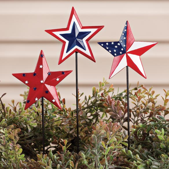 Barn Star Planter Stakes by Maple Lane Creations™, Set of 3 - View 1