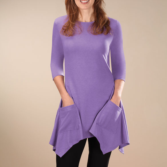 3/4-Sleeve Crew-Neck Tunic with Pockets
