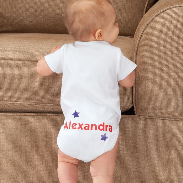 "Personalized ""4th of July Cutie Pie"" Onesie"