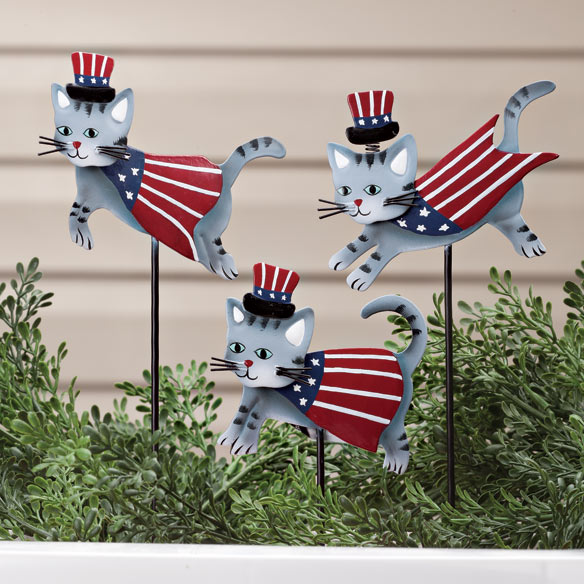 Metal Patriotic Cat Planter Stakes by Maple Lane Creations™ - Set of 3
