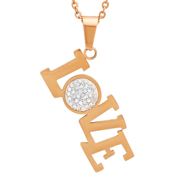 Rose Gold and CZ Love Pendant Necklace - View 1