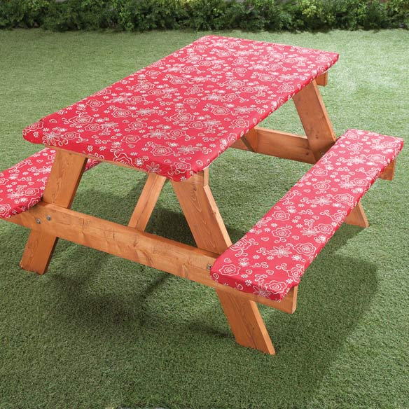 Fanciful Flowers Deluxe Picnic Tablecover