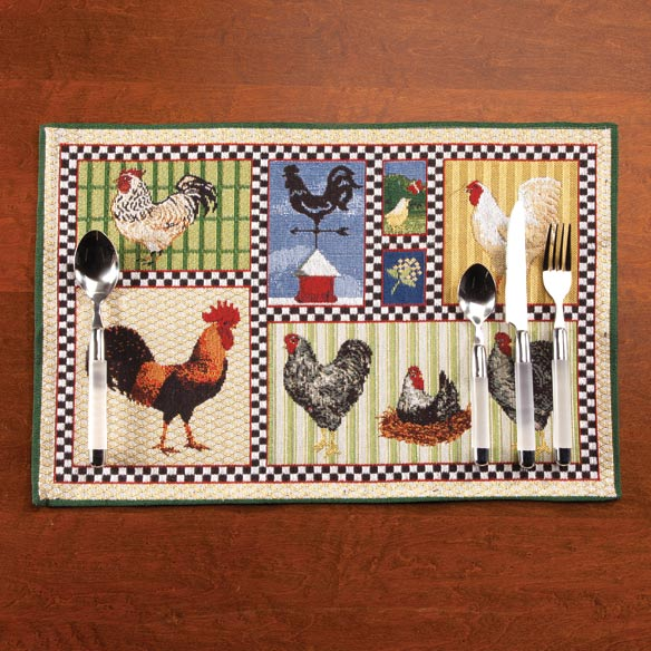 Roosters & Chickens Placemats, Set of 4
