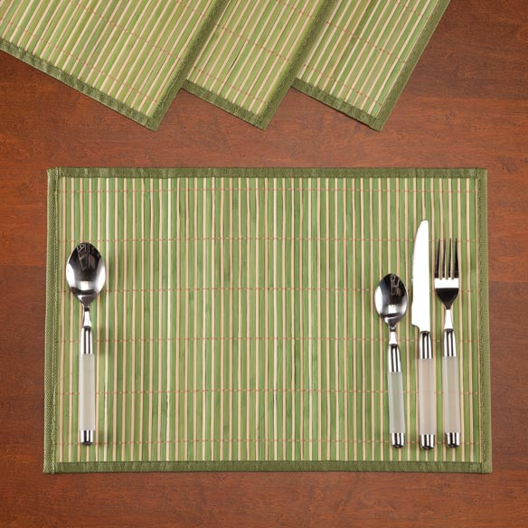Striped Bamboo Placemats, Set of 4 - View 1