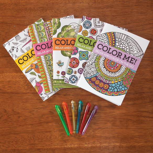 Adult Mini Coloring Books, Set of 5 with Gel Pens