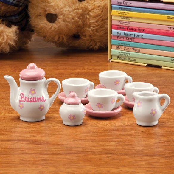 Personalized Floral Doll Tea Set