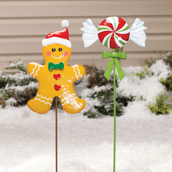 Gingerbread Candy Stakes, Set of 2 by Maple Lane Creations™