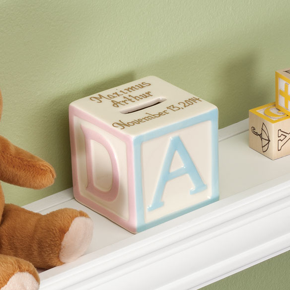 Personalized Baby Block Coin Bank