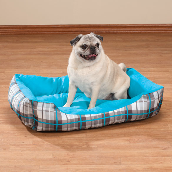 Blue & Grey Plaid Pet Bed