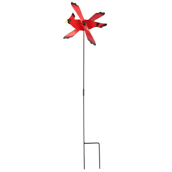 Metal Cardinal Wind Spinner Stake by Maple Lane Creations™