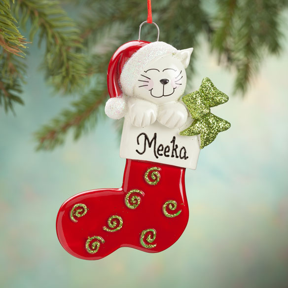 Personalized Happy Cat Stocking Ornament