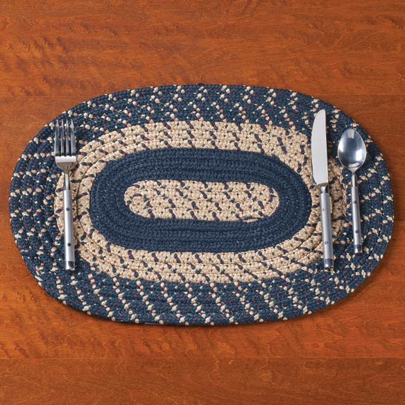 Navy Blue Braided Placemats, Set of 2