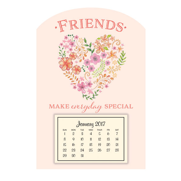 Mini Magnetic Floral Heart Calendar