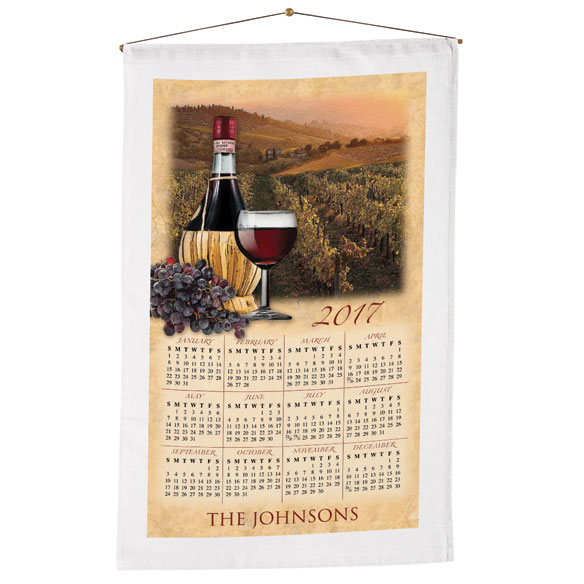 Personalized Tuscan Vineyard Calendar Towel - View 1