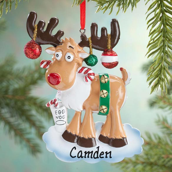 Personalized Eggnog Moose Ornament - View 1