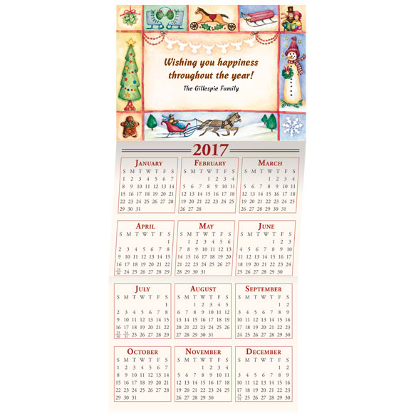 2017 Traditional Folk Art Calendar Christmas Card Set of 20
