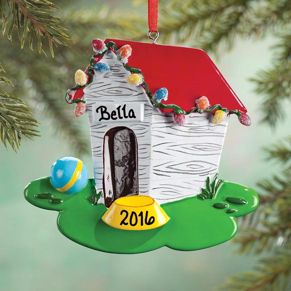 Personalized Dog House in Lights Ornaments