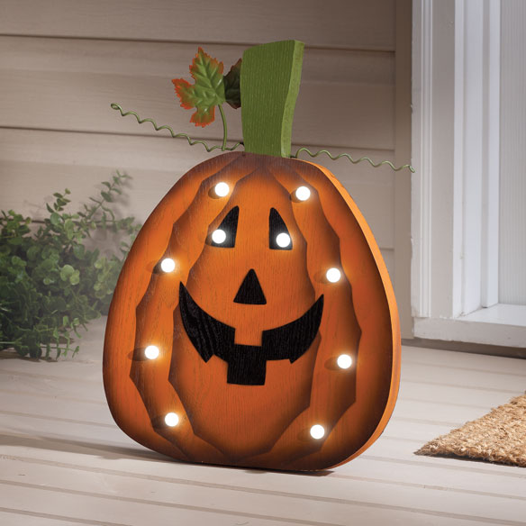 Wooden Lighted Jack-O-Lantern