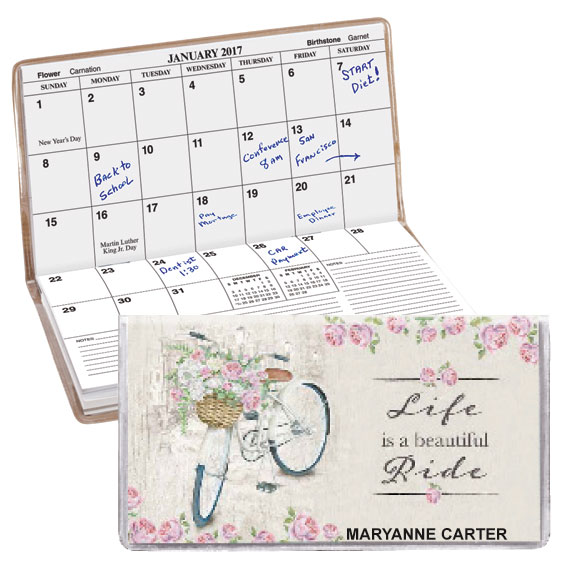 Personalized 2 Yr Planner Floral Bicycle